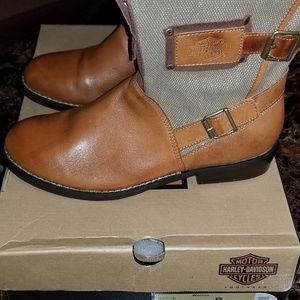Brown Leather Harley Boots